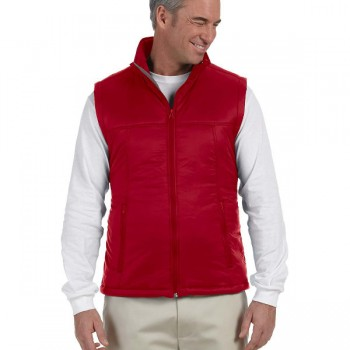 harriton-mens-essential-polyfill-vest-red