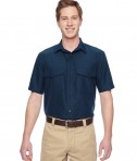Harriton Men's Key West Short-Sleeve Performance Staff Shirt Navy