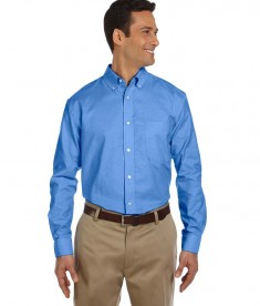 Harriton Men's Long-Sleeve Oxford with Stain-Release French Blue