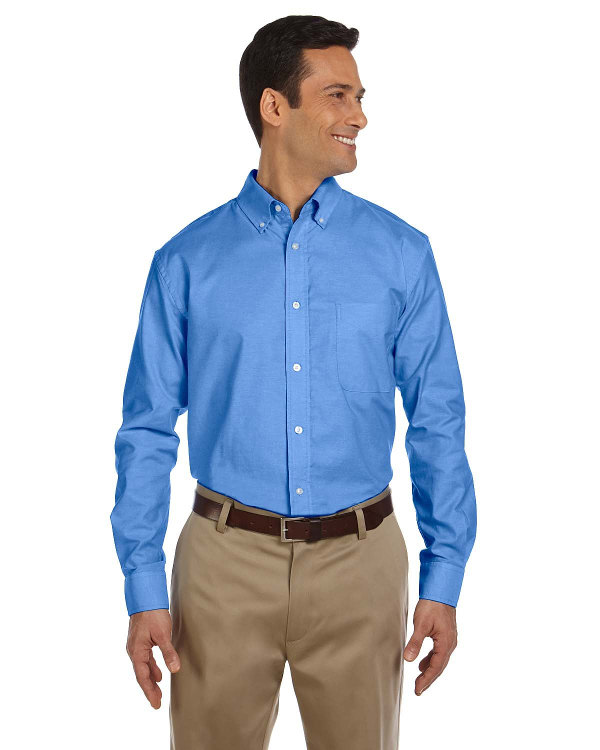 harriton-mens-long-sleeve-oxford-with-stain-release-french-blue