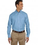 Harriton Men's Long-Sleeve Oxford with Stain-Release Light Blue