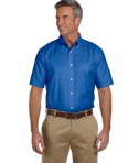 Harriton Men's Short-Sleeve Oxford with Stain-Release French Blue
