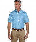 Harriton Men's Short-Sleeve Oxford with Stain-Release Cool Blue