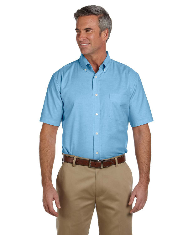 harriton-mens-short-sleeve-oxford-with-stain-release-light-blue