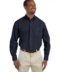 Harriton Men's Tall 3.1 oz. Essential Long-Sleeve Poplin Navy