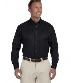 Harriton Men's Tall Easy Blend Long-Sleeve Twill Black