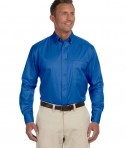 Harriton Men's Tall Easy Blend Long-Sleeve Twill French Blue