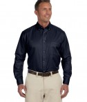 Harriton Men's Tall Easy Blend Long-Sleeve Twill Navy