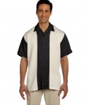 Harriton Men's Two-Tone Bahama Cord Camp Shirt Black/Creme