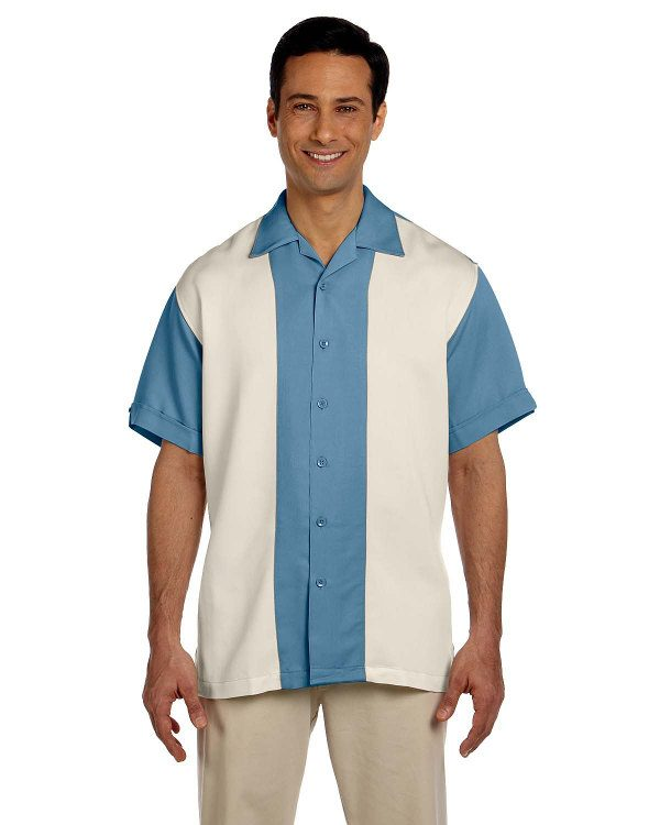 Harriton Men's Two-Tone Bahama Cord Camp Shirt Cloud Blue/Creme