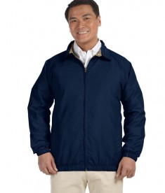 Harriton Microfiber Club Jacket Navy/Stone