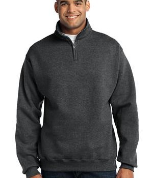 JERZEES 1/4-Zip Cadet Collar Sweatshirt Style 995M Black Heather