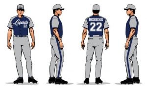 Legends sublimation baseball team uniforms mock-up