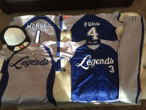 Legends team baseball uniforms. Sublimation method.