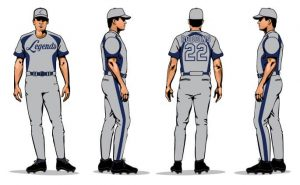 Sublimation baseball uniforms mock of grey and blue uniforms