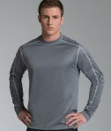 Charles River Apparel 3137 Mens Long Sleeve Wicking Tee Shirt: Grey Model Front View