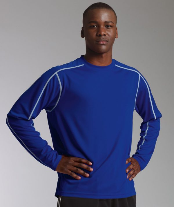 Charles River Apparel 3137 Mens Long Sleeve Wicking Tee Shirt: Royal Model