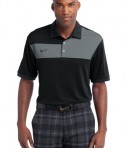 Nike Golf Dri-FIT Sport Colorblock Polo Style 527806 Black Flint Grey Black