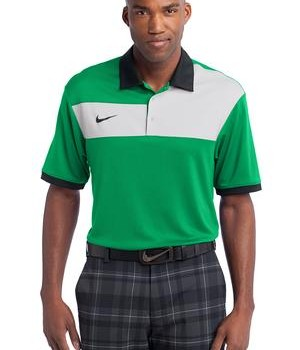 Nike Golf Dri-FIT Sport Colorblock Polo Style 527806 Lucky Green White Black