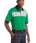 Nike Golf Dri-FIT Sport Colorblock Polo Style 527806 Lucky Green White Black Angle