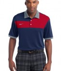 Nike Golf Dri-FIT Sport Colorblock Polo Style 527806 Navy Gym Red Flint Grey