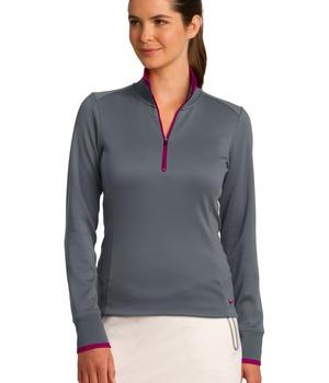 Nike Golf Ladies Dri-FIT 1/2-Zip Cover-Up Style 578674 Dark Grey Sport Fuchsia