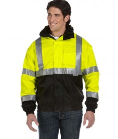 OccuNomix Four-Way Black Bottom Bomber Jacket, Class 3 Safety Yellow