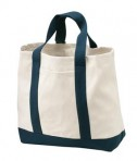 Port and Company B400 two tone shopping tote natural/navy