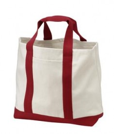 Port and Company B400 two tone shopping tote natural/pink