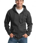 Port and Company PC90ZH Ultimate Full Zip Hooded Sweatshirt Charcoal