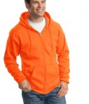 Port and Company PC90ZH Ultimate Full Zip Hooded Sweatshirt Safety Orange Angle