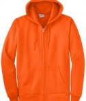 Port and Company PC90ZH Ultimate Full Zip Hooded Sweatshirt Safety Orange Flat Front