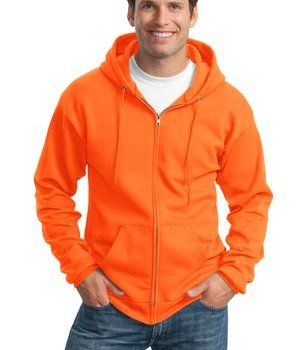 Port and Company PC90ZH Ultimate Full Zip Hooded Sweatshirt Safety Orange