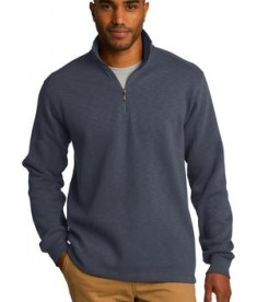 Port Authority F295 Slub Fleece 1/4 Zip Pullover Slate Grey