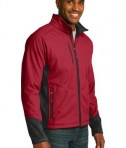 Port Authority J319 Vertical Soft Shell Jacket Rich Red/Black Angle
