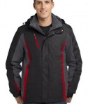 Port Authority J321 3-in-1 Jacket Black/Magnet Grey/Signal Red