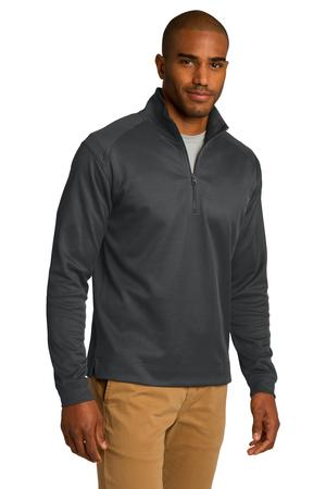 Port Authority Vertical Texture 1/4 Zip Pullover Iron Grey / Black Angle