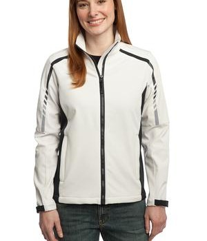 Port Authority L307 Ladies Embark Soft Shell Jacket Sea Salt White/Deep Grey