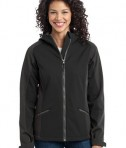 Port Authority L312 Ladies Gradient Hooded Soft Shell Jacket Black/Deep Grey