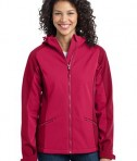 Port Authority L312 Ladies Gradient Hooded Soft Shell Jacket Dark Fuchsia/Loganberry