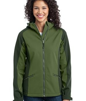 Port Authority L312 Ladies Gradient Hooded Soft Shell Jacket Garden Green/Evergreen