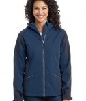 Port Authority L312 Ladies Gradient Hooded Soft Shell Jacket Insignia Blue/Navy Eclipse