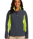 Port Authority L318 Ladies Core Colorblock Soft Shell Jacket Battleship Grey/Charge Green