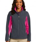 Port Authority L318 Ladies Core Colorblock Soft Shell Jacket Battleship Grey/Dark Rose