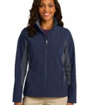 Port Authority L318 Ladies Core Colorblock Soft Shell Jacket Dress Blue Navy/Battleship Grey