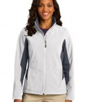 Port Authority L318 Ladies Core Colorblock Soft Shell Jacket Marshmallow/Battleship Grey