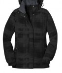 Port Authority L320 Ladies Brushstroke Print Insulated Jacket Flat Black