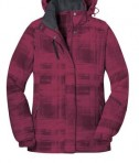 Port Authority L320 Ladies Brushstroke Print Insulated Jacket Red Bud Flat