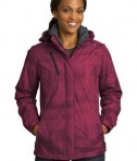 Port Authority L320 Ladies Brushstroke Print Insulated Jacket Red Bud