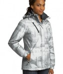 Port Authority L320 Ladies Brushstroke Print Insulated Jacket White Anlge